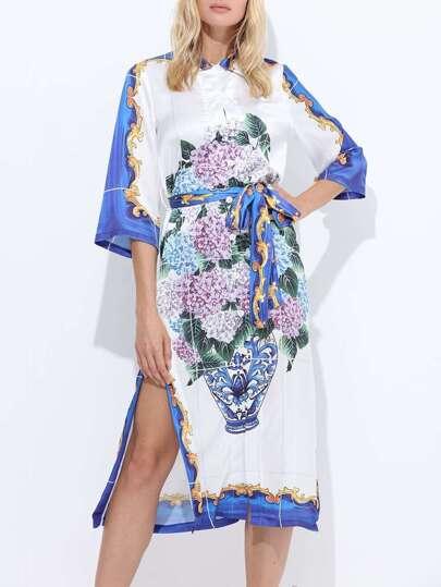 Vintage Print Floral Split Dress