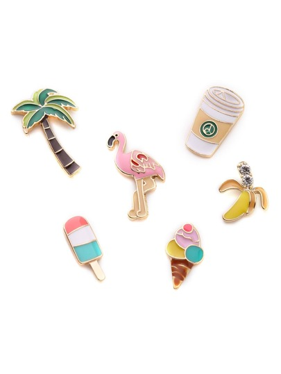 Flamingo & Palm Tree Design Brooch Set