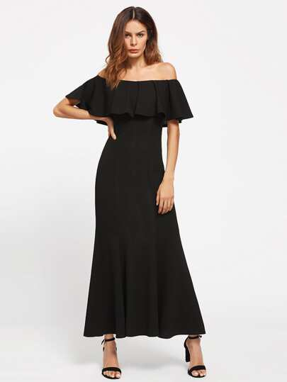 Flounce Bardot Neck Fishtail Dress