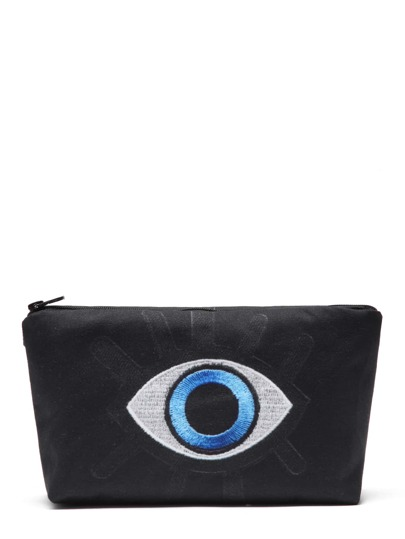 Contrast Embroidered Eye Makeup Bag