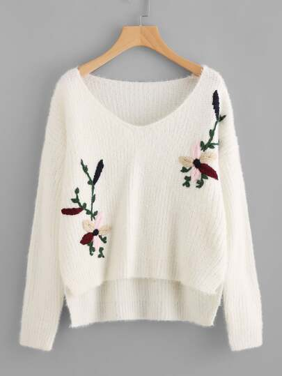 Flower Embroidered High Low Fuzzy Jumper