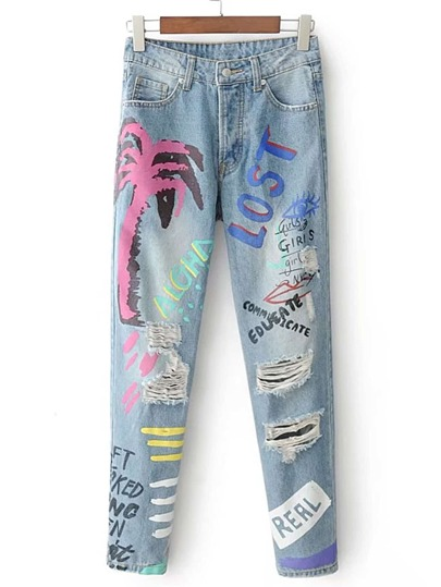 Graffiti Print Ripped Detail Jeans