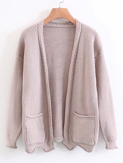Open Front Cable Knit Sweater Coat