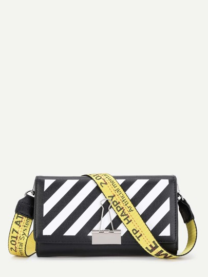 Binder Clip Detail Stripe PU Shoulder Bag
