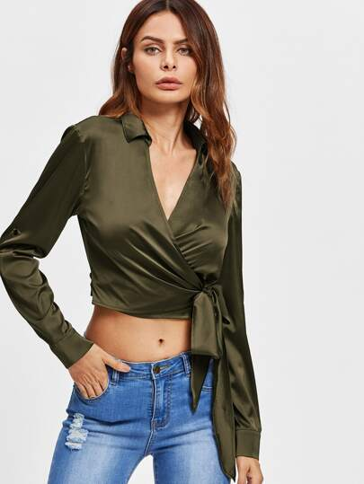 Roll Tab Sleeve Plunging Surplice Wrap Blouse