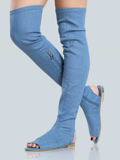 Denim Thigh High Sandals BLUE DENIM
