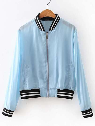 Striped Trim Baseball Jacket