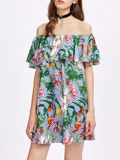 Robe imprimée tropical à volants