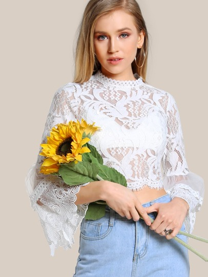 Bell Sleeve Crochet Lace Crop Top WHITE