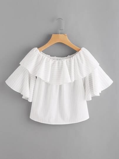 Flounce Layered Fluted Sleeve Striped Top