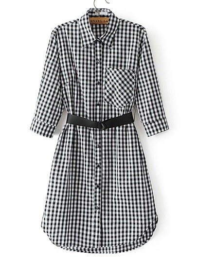 Gingham Shirt Dress With Belt