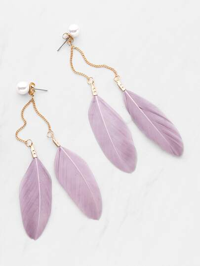 Feather Decorated Earrings With Faux Pearl