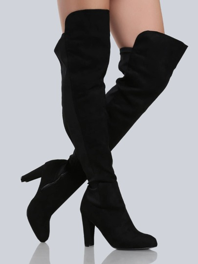 Faux Suede Over the Knee Booties BLACK