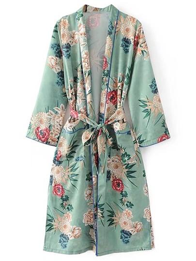 Kimono imprimé à imprimé floral avec cravate auto