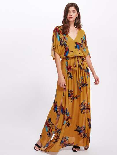 Split Sleeve Surplice Wrap Botanical Dress