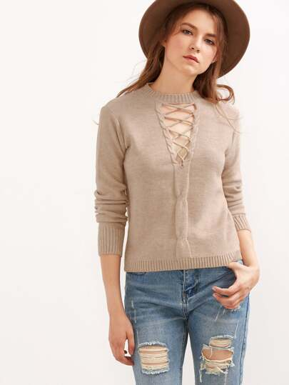 Coffee Cutout Lace Up Cable Knit Sweater