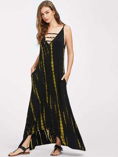 Cami Straps Ladder Cutout Tie-dye Maxi Dress