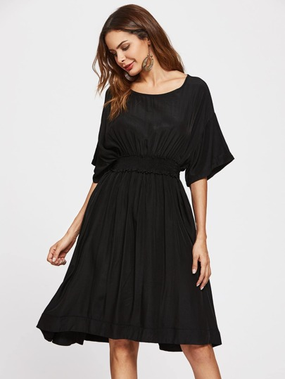 Drop Shoulder Kimono Sleeve Elastic Waist Dress