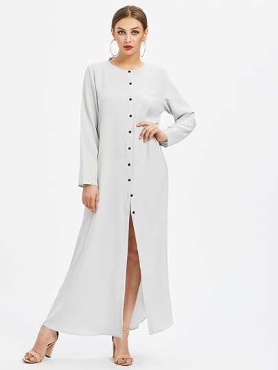 Single Breasted Longline Abaya Dress