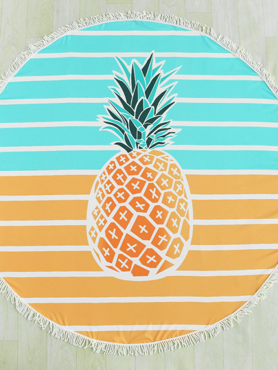 Pineapple & Block Striped Print Fringe Edge Round Beach Blanket