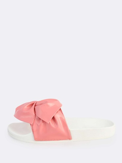 Patent Ruched Slides PINK