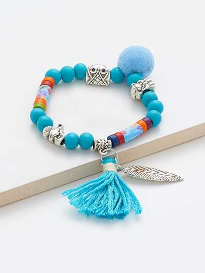 Pom Pom & Tassel Decorated Beaded Bracelet