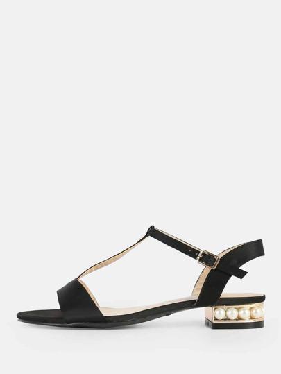 Satin T Strap Pearl Sandals BLACK