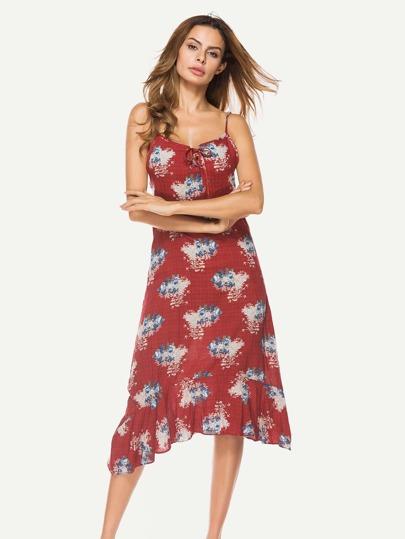 Frill Hem Florals Cami Dress