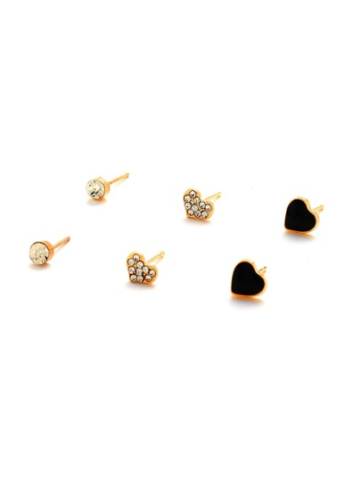 Rhinestone Embellished Heart Shaped Stud Earring Set