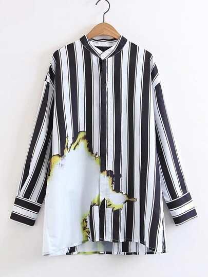 Blusa larga de rayas verticales con detalle de efecto teñido anudado
