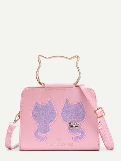 Cat Pattern PU Shoulder Bag With Bow