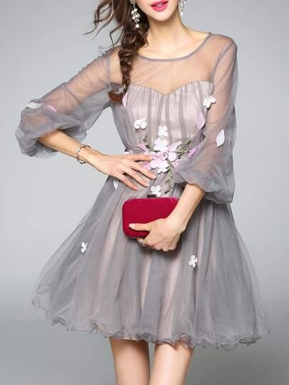 Gauze Flowers Applique Sheer Dress