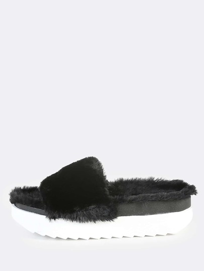 Fuzzy Faux Fur Flatforms BLACK