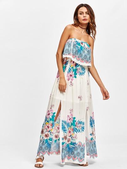 Lace Trim Flounce Layered M-Slit Florals Dress