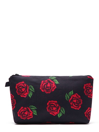 Rose Flower Print Makeup Bag