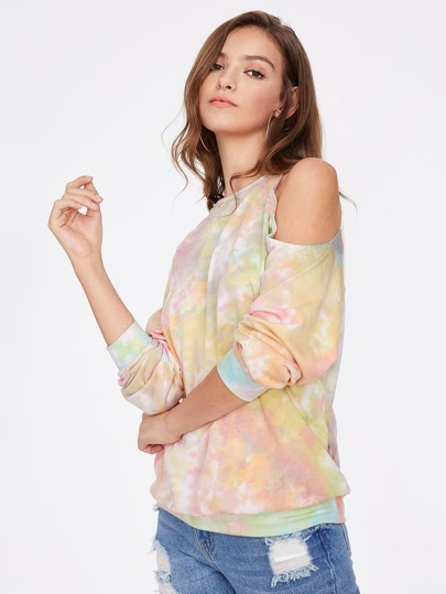 Asymmetric Cutout Shoulder Tie Dye Sweatshirt