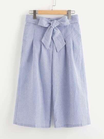 Self Tie Pinstripe Culotte Pants