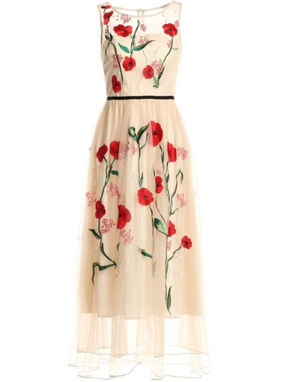 Flowers Gauze Embroidered Maxi Dress