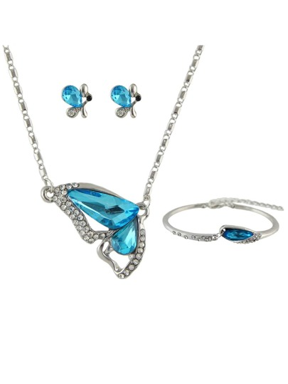 Wedding Blue Imitation Crystal Wing Shape Necklace Earrings Bracelet Set