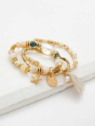 Tassel & Starfish Design Beaded Bracelet Set