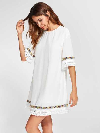 Embroidered Tape And Knotted Fringe Detail Dress