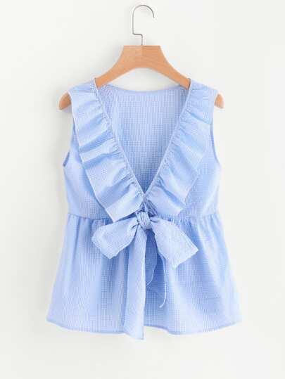 Bluse mit schößchem Saum, V-Ausschnitt und Schleife