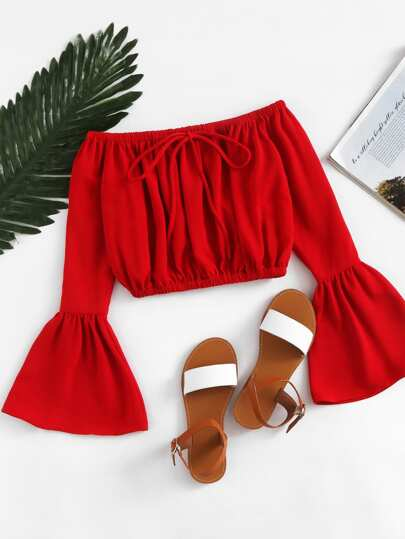 Off Shoulder Fluted Sleeve Drawstring Crop Top