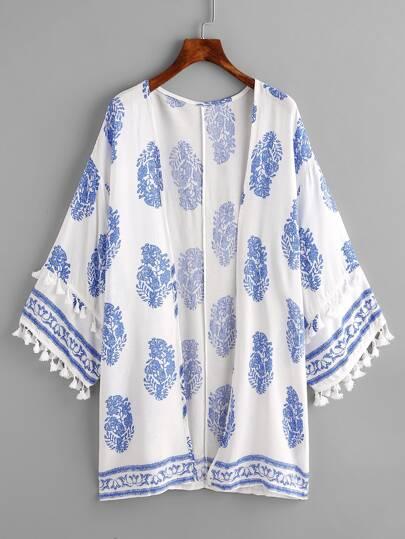 Kimono imprimé découpé avec des franges