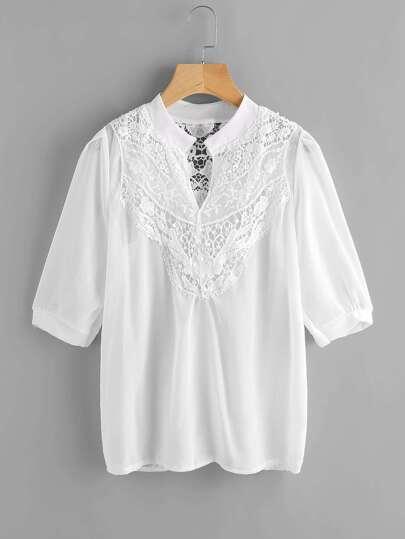Модная шифоновая блуза с кружевной вставкой