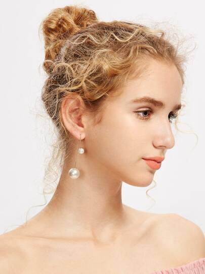 Faux Pearl Embellished Charm Earrings
