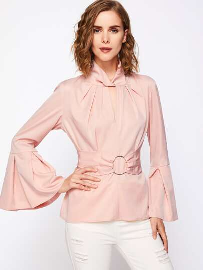Keyhole Twist Front O-Ring Belt Detail Blouse