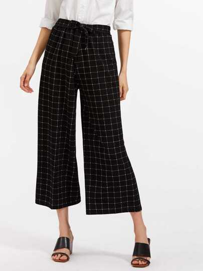 Pantalons jambe large imprimé de la vitre avec une ceinture