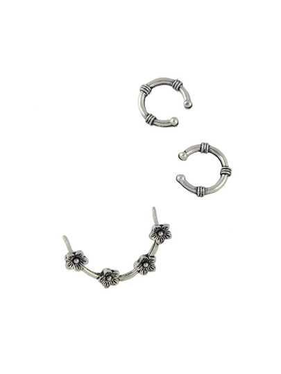 3 Pcs/Set Vintage Design Silver Color Flower Wrap Ear Cuff Earrings