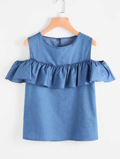 Open Shoulder Frill Trim Blouse